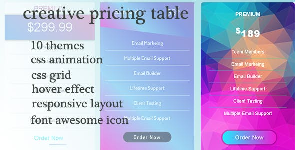 creative pricing table