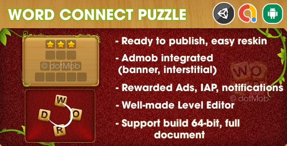 Word Connect Puzzle - Unity Template Project (Android + iOS + AdMob + Notification) - CodeCanyon Item for Sale