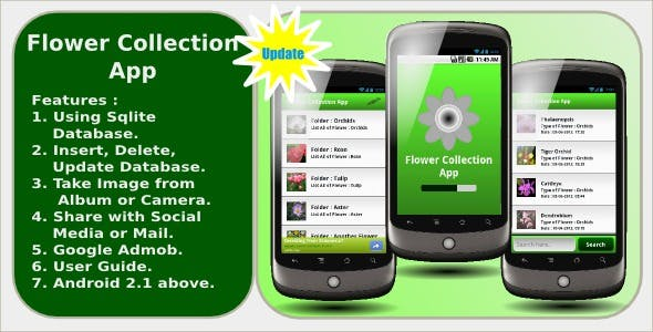 Flower Collection App with Admod and Social Share