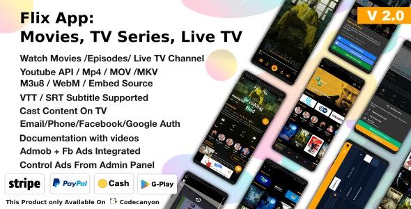 Flix App Movies v2.4 – TV Series – Live TV Channels – TV Cast