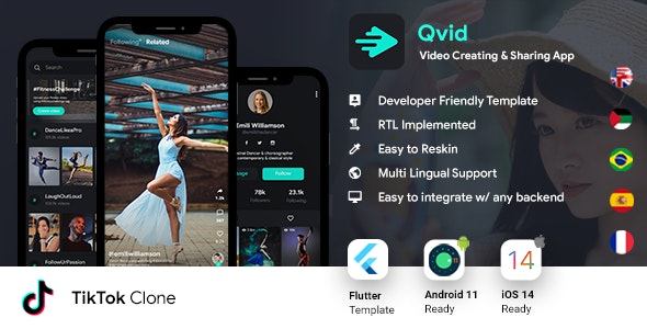 TikTok App| Video Creating Android App+ Short Video iOS App| Flutter Template| Qvid - CodeCanyon Item for Sale