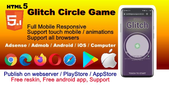 HTML5 Glitch Circle Hyper Casual Game ( support all device , browser, android , iOS )
