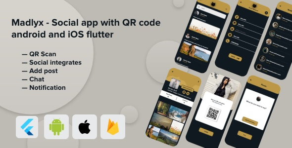 Madlyx - Social app with QR code android and iOS flutter - CodeCanyon Item for Sale