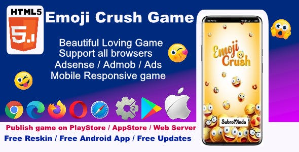 HTML5 Emoji Crush Game ( Support android, iOS , computer browsers )