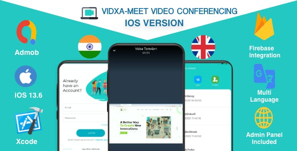 VIDXA MEET – Free Video Conferencing & Audio Conferencing App | Zoom Clone (iOS + Admin Panel)