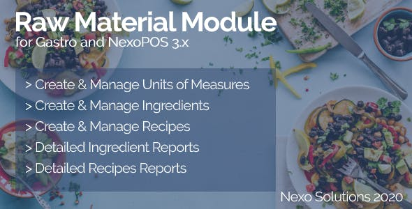 Raw Material Module - Ingredients Manager for Gastro