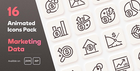 Marketing Data Diagram Animated Icons Pack - Lottie Json Animation SVG - CodeCanyon Item for Sale