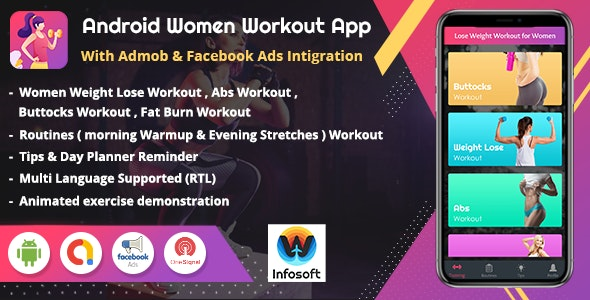 Android Women Workout at Home - Women Fitness app (V 1.1) - CodeCanyon Item for Sale