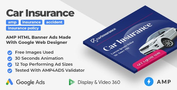 Car Insurance - Animated AMP HTML Banner Ad Templates (GWD, AMP)