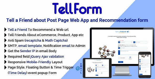 TellForm - Tell a Friend about Post Page Web App and Recommendation Form - CodeCanyon Item for Sale