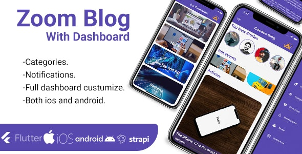 Zoom -Flutter Blog App With Dashboard ios and android - CodeCanyon Item for Sale
