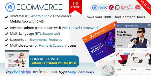 Ionic5 Ecommerce - Universal iOS & Android Ecommerce / Store Full Mobile App with Laravel CMS