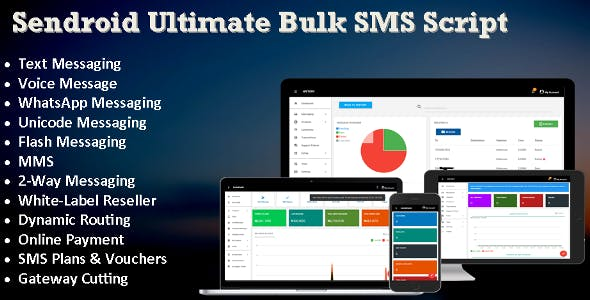 Sendroid - Ultimate  Bulk SMS, WhatsApp and Voice Messaging Script with White-Label Reseller System