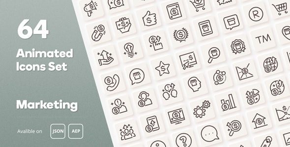 Marketing Animated Icons Set - Wordpress Lottie JSON SVG - CodeCanyon Item for Sale
