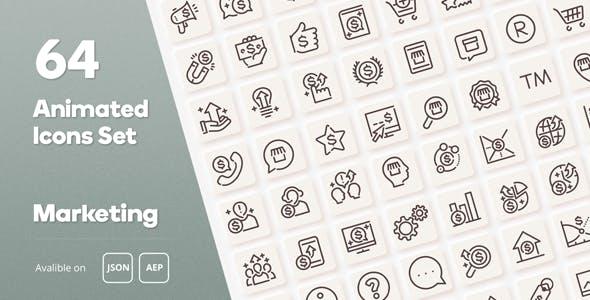 Marketing Animated Icons Set - Wordpress Lottie JSON SVG