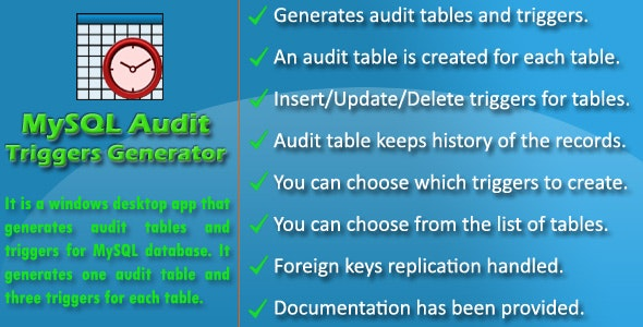 Audit Triggers Generator for MySQL - CodeCanyon Item for Sale