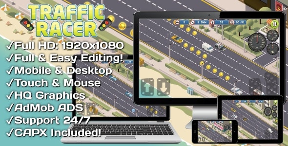 Traffic Racer - HTML5 Game + Mobile Version! (Construct 3 | Construct 2 | Capx) - CodeCanyon Item for Sale