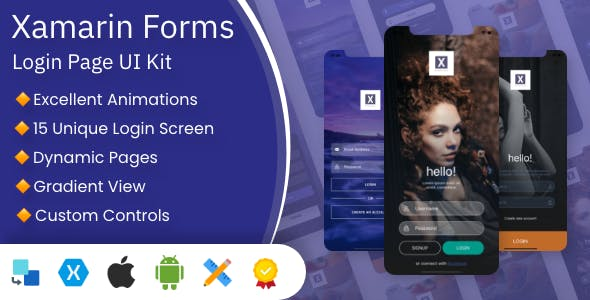 XamUI Login Pages UI Kit | Xamarin Forms