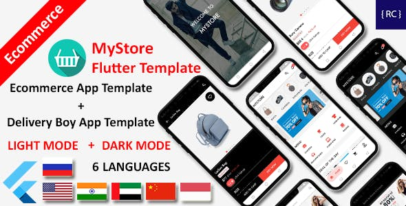 E-Commerce App Flutter Template | 2 Apps | User App + Delivery App | MyStore
