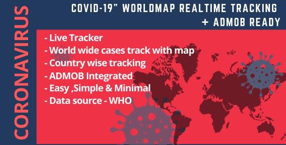 "Coronavirus ""Covid-19""  worldmap realtime tracking + ADMOB ready"