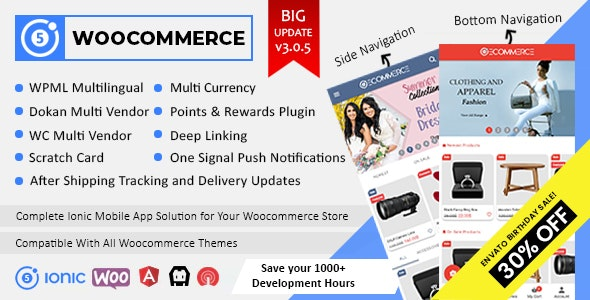 Ionic5 Woocommerce - Ionic5/Angular8 Universal Full Mobile App for iOS & Android / Wordpress Plugins - CodeCanyon Item for Sale