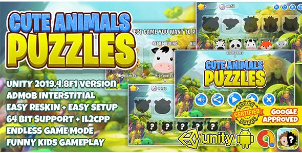 Cute Animal Puzzle Kids : Unity3D + Admob Ads + Easy Reskin