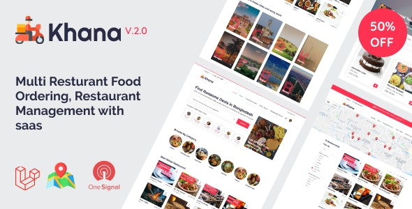 Khana - Multi Resturant Food Ordering, Restaurant Management With Saas - CodeCanyon Item for Sale