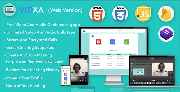 Vidxa (WEB)- Free Video Conferencing  for Live Class, Meeting, Webinar, Online Training - CodeCanyon Item for Sale