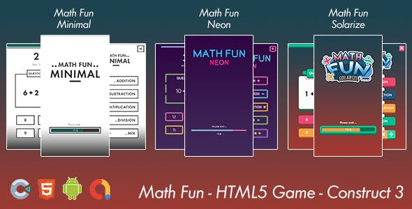 Math Game Fun - HTML 5 Game -  Android Game - Construct 3