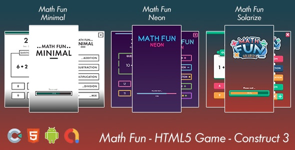 Math Game Fun - HTML 5 Game -  Android Game - Construct 3 - CodeCanyon Item for Sale