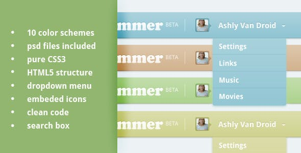 Top Navigation bar CSS3, HTML5