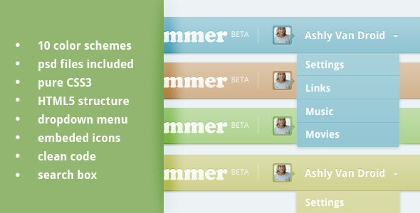 Top Navigation bar CSS3, HTML5  - CodeCanyon Item for Sale