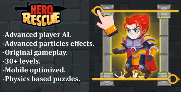 Hero Rescue - Construct 2 + Construct 3 + HTML5 (CAPX+C3P+HTML5) - CodeCanyon Item for Sale