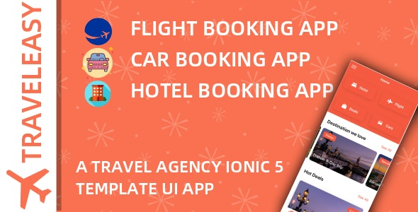 TravelEasy - A Travel Agency Theme UI App By Ionic 5 (Car, Hotel, Flight Booking) - CodeCanyon Item for Sale