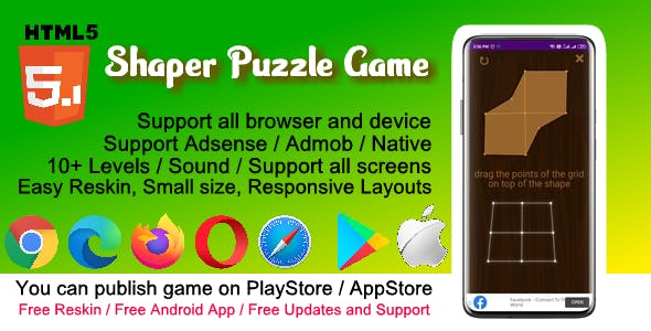 HTML5 Shaper Puzzle Game ( Support Android , iOS , Computer )