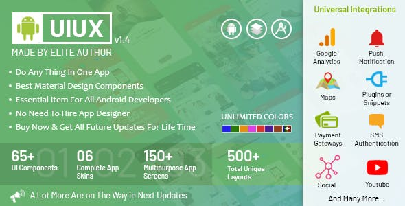 UIUX - Android Material Design Components, Multipurpose App Screens & Complete Starter App Templates