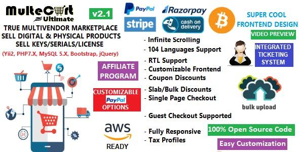 MulteCart Ultimate Ecommerce - Digital Multivendor Marketplace Ecommerce - eShop CMS