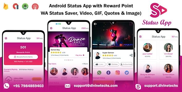 Android Status App With Reward Point (WA Status Saver + Video/Image/GIF/Quotes + Earn points) - CodeCanyon Item for Sale