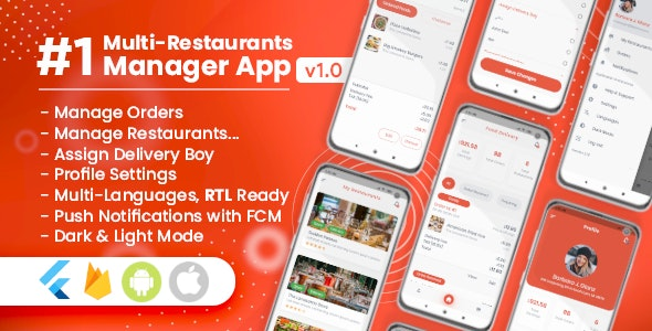 Manager / Owner for Multi-Restaurants Flutter App