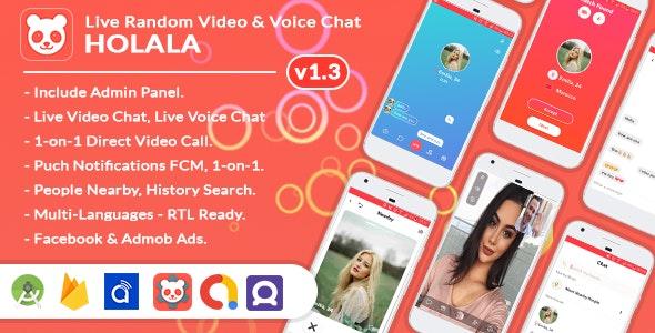 HOLALA Premium v1.0 – Live Random Video/Voice Call + Admin Panel + Ads + In-App Purchases
