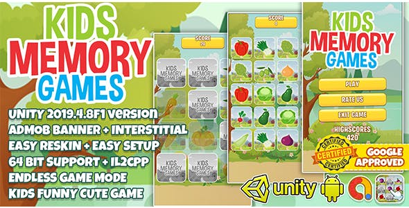 Kids Memory Match Unity3D + Admob Ads + Easy Reskin