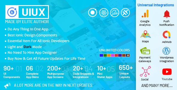 UIUX 5 in 1 - Ionic 6 with React Design Components, Screens, Code Snippets, App Skins & Mini Apps