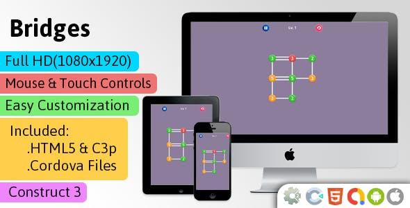 Bridges - HTML5 Game (Construct 3 | C3p) - Puzzle Game str8face
