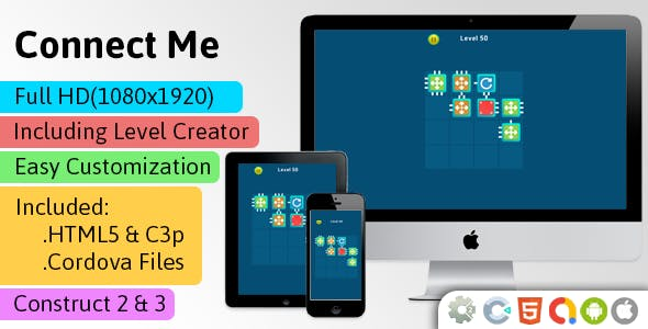 Connect Me - HTML5 Game (Construct 2 | Construct 3 | Capx | C3p) - Puzzle Game str8face