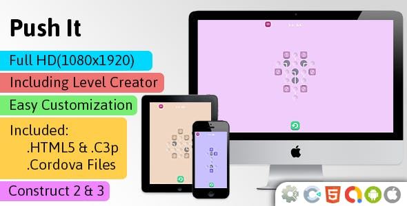 Push It - HTML5 Game (Construct 2 | Construct 3 | Capx | C3p) - Puzzle Game