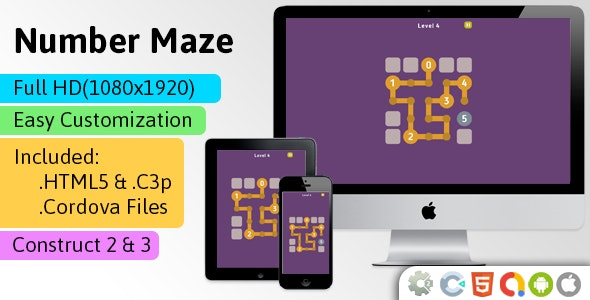 Number Maze - HTML5 Game (Construct 2 | Construct 3 | Capx | C3p) - Puzzle Game - CodeCanyon Item for Sale