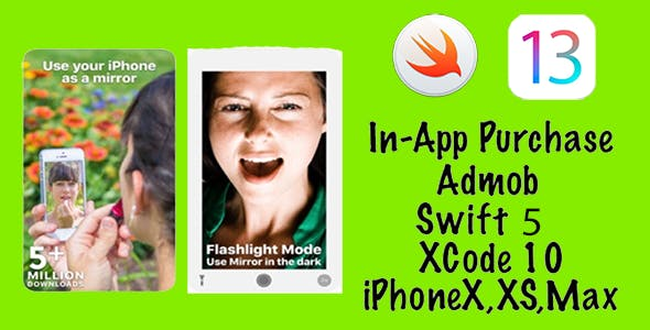 Mirror App Makeup Cam with Light & Zoom - iOS 13   Swift 5   Admob   In App Purchase