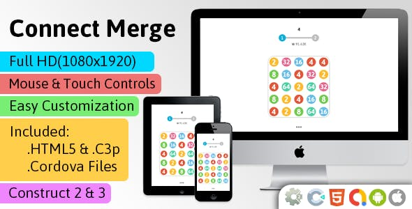 Connect Merge - HTML5 Game (Construct 2 | Construct 3 | Capx) - Puzzle Game