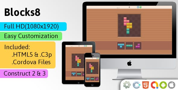 Blocks8 - HTML5 Game (Construct 2 | Construct 3 | Capx | C3p) - Puzzle Game