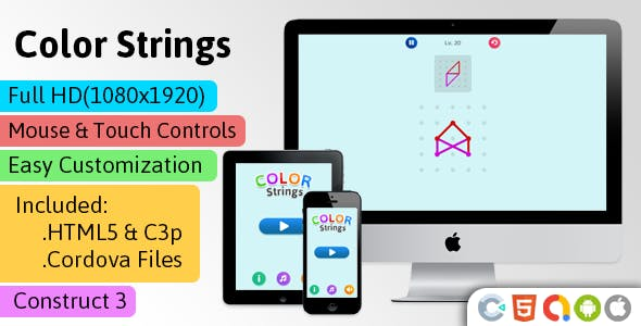 Color Strings - HTML5 Game (Construct 3 | C3p) - Puzzle Game str8face